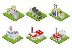 Icons and compositions of industrial building,  constructions, subjects isometric view, 3D. Royalty Free Stock Photo