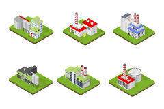 Icons and compositions of industrial building,  constructions, subjects isometric view, 3D. Vector set of industry Royalty Free Stock Photography