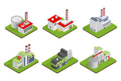 Icons and compositions of industrial building,  constructions, subjects isometric view, 3D. Royalty Free Stock Photography