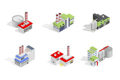 Icons and compositions of industrial building,  constructions, subjects isometric view. 3D. Vector set of industry Stock Photo