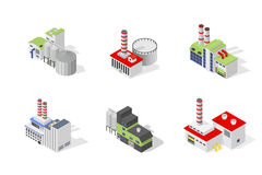 Icons and compositions of industrial building,  constructions, subjects isometric view Stock Image