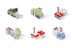 Icons and compositions of industrial building,  constructions, subjects isometric view Royalty Free Stock Photo