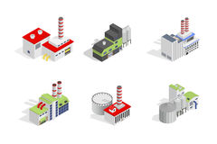 Icons and compositions of industrial building,  constructions, subjects isometric view Stock Photography