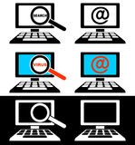 Icons of computer monitors. Set of icons of computer monitors on a black and white background Royalty Free Stock Photos