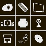 Icons computer things. Set of icons on a theme computer stuff Stock Photo
