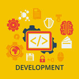Icons concept of coding and development. Flat design concept icons for web and mobile services and apps. Icons concept of coding and development. Vector Stock Photo