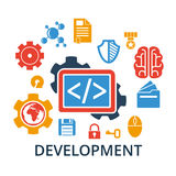 Icons concept of coding and development. Flat design concept icons for web and mobile services and apps. Icons concept of coding and development. Vector Royalty Free Stock Photos