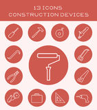 13 icons construction devices. Icon set of various tools for construction and repair Royalty Free Stock Photo