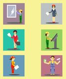 Icons with the construction industry stock illustration
