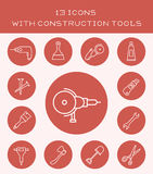 13 icons with construction tools. Icon set of various maintenance tools and appliances Royalty Free Stock Image