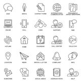 Icons contact us. Methods of communication and information. Thin lines. Royalty Free Stock Photography