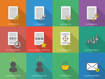 Icons of copywriting in flat style. SEO copywriting and SMM. Vec Stock Photo