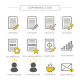 Icons of copywriting in linear style. SEO copywriting and SMM. V vector illustration