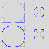 Icons corner square vs. radius. Images for button icons depicting square or rounded corners of HTML or other customizable elements and the like royalty free stock photography