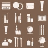 Icons cosmetics in a light beige silhouette. Vector illustration Royalty Free Stock Photos