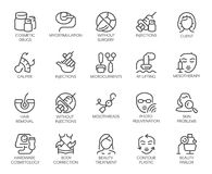 20 icons on cosmetology theme isolated. Beauty therapy, medicine, healthcare, wellness treatment linear symbolsc. Set of 20 icons on cosmetology theme. Labels Stock Images