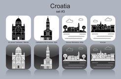 Icons of Croatia. Landmarks of Croatia. Set of monochrome icons. Editable vector illustration Royalty Free Stock Images