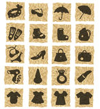 Icons on crumpled paper. Hand-drawn icons on texture Royalty Free Stock Image