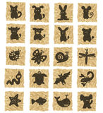Icons on crumpled paper. Hand-drawn icons on texture Stock Images