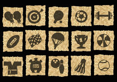 Icons on crumpled paper Royalty Free Stock Photos
