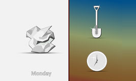 Icons of the crumpled paper, shovel and hours Stock Photo