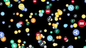 Icons of cryptocurrencyof different sizes fly on a black background stock illustration