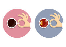 Icons cup of coffe and cup of tea with hands in cartoon style Royalty Free Stock Photography