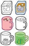 Icons cup mug with drinks hand drawn vector Stock Photography