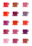 Icons cup and saucer and print ornament embroidery and knitting Royalty Free Stock Photos