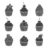 Icons cupcake. Royalty Free Stock Photography