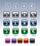 Icons with currency symbols Royalty Free Stock Image