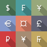 Icons currency symbols, vector illustration. Set of nine square icons symbols of the leading world currencies , flat style, long diagonal shadow, vector Stock Image