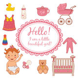 Icons of cute baby girl. Vector Stock Photos