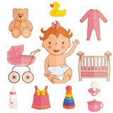 Icons of cute baby girl. Vector Stock Image