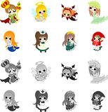 Icons of cute fairy tales Royalty Free Stock Photos
