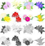 Icons of cute flowers Stock Photo