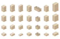 Icons 3d boxes, realistic style of vector graphics, an isometric view. Illustration depicting a set of boxes, cartons, boxes in the 3D projection on a white Royalty Free Stock Photo