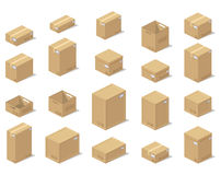 Icons 3d boxes, realistic style of vector graphics, an isometric view. Royalty Free Stock Photo