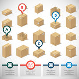 Icons 3d boxes, realistic style of vector graphics, an isometric view. Illustration depicting a set of boxes, cartons, boxes in the 3D projection on a white Stock Photos