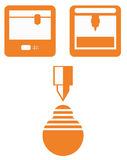 Icons of 3d printing technology, flat orange devices on white ba. Ckground isolated Stock Image