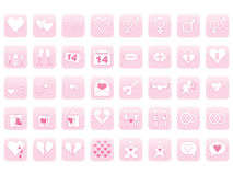 Icons for Day of Valentine. Set of pink icons for Day of Valentine Stock Photos