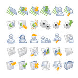 ICONS - DB and users. Internet & Web icon set 3 color palette (blue, green and orange) -  Vector illustrated icons refers to Stock Images