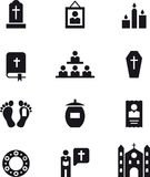 Icons of death, funerals and religion Royalty Free Stock Photos