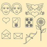 Icons dedicated to Valentine's Day Royalty Free Stock Images