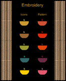 Icons deep dish soup and print ornament embroidery and knitting Stock Photography