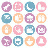 Icons deep sleep. Icons set deep sleep. White icons in a flat style on a coloreds circles Royalty Free Stock Image