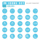 Icons  Deliver transport  color thin white in the circle blue on Stock Images