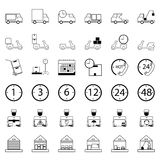 36 Icons. Delivery Shopping and Ecommerce Logistics Set of outli Royalty Free Stock Photography