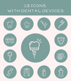 13 icons with dental devices. Stock Photography
