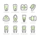 Icons for dentistry lines royalty free stock photos